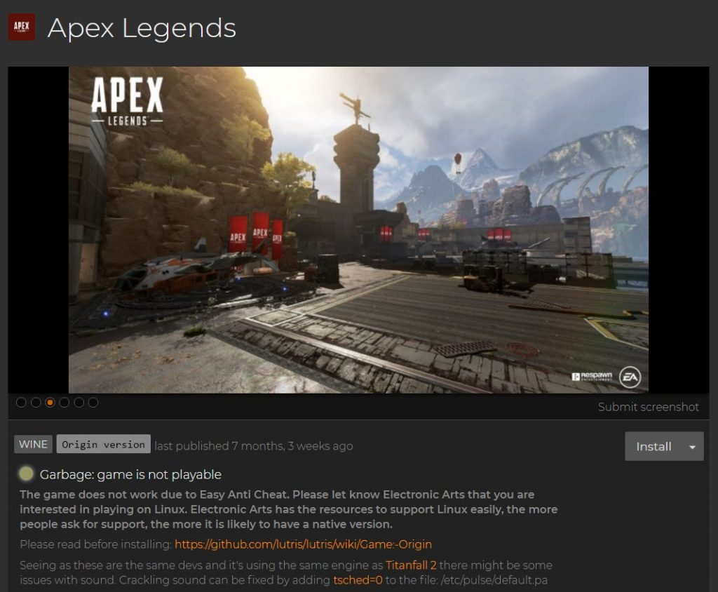 Apex Legends on Lutris.