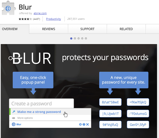 Blur is one of the best password management extensions for Chrome.
