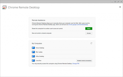 Chrome Remote Desktop is an app that'll let you connect to your Chrome-powered devices.