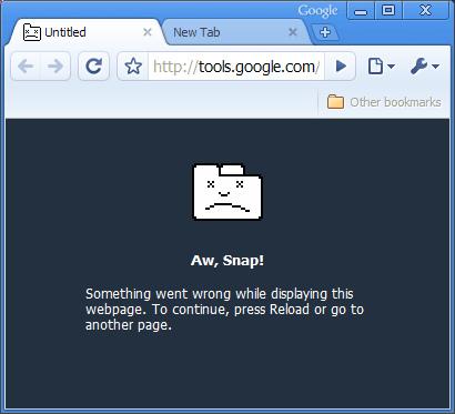 Chrome crash screen.