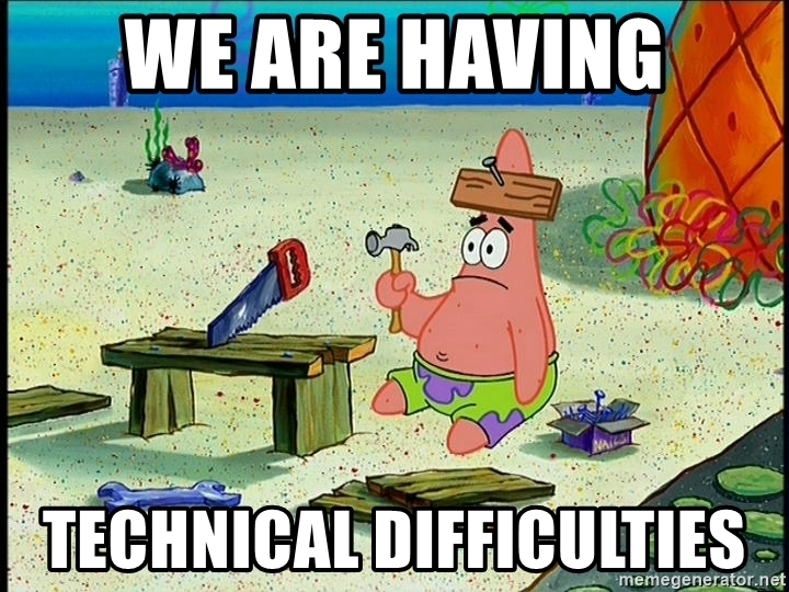 Patrick Star from Spongebob with a nail in his head meme - Play Store apps can have technical problems on Chromebooks.