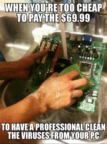Keeping Chromebook clean meme.