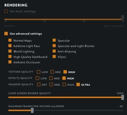Dota Underlords video settings.