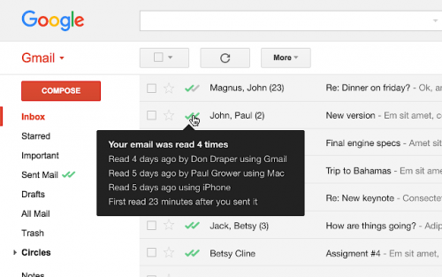 Email read receipts for Gmail.