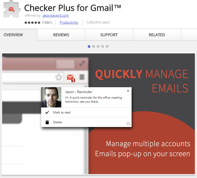 Checker Plus is one of the best email checkers for Chrome.
