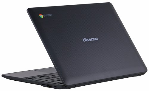 Hisense C11 logo on laptop.