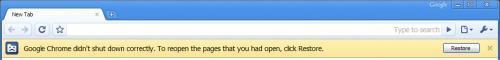 Chrome didn't shut down correctly error.