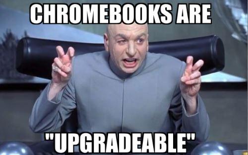 How to upgrade Chromebook Dr. Evil meme.