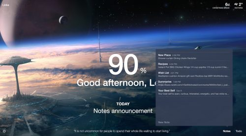 Mometum has weather, to-do lists, and inspirational quotes built into one app.