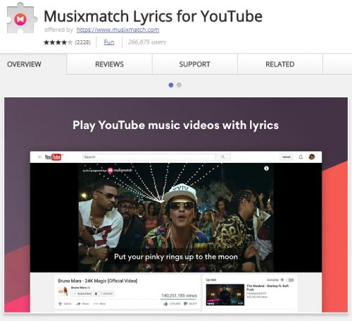 Automatically show lyrics for YouTube music videos.