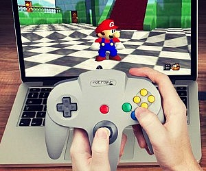 Playing Super Mario 64 on a laptop.