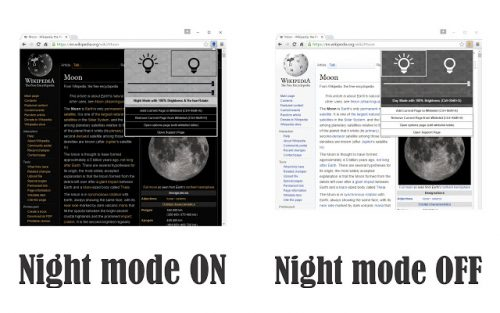 Dark mode vs. regular mode.