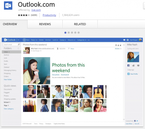 Outlook for Chrome gets all your emails in one app.