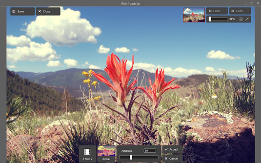 PIxlr Touchup is a Chromebook app that offers different ways to edit your pictures.