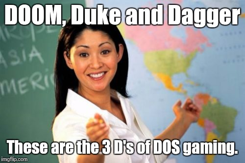How to play DOS games on Chromebook - DOOM, Duke, and Daggerfall meme.