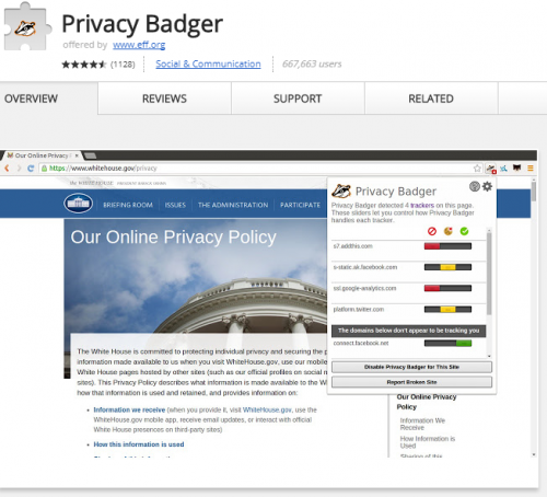 Privacy Badger free Chrome extension for privacy.