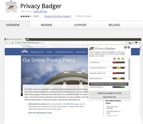 Privacy Badger blocks trackers from spying.