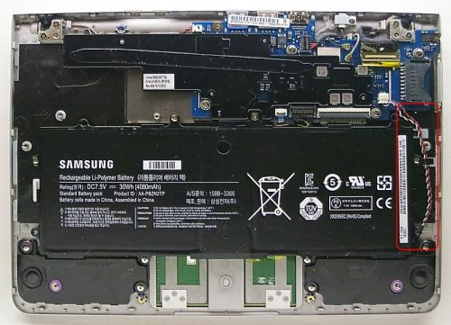 Disassemble your Chromebook and unplug the wires connecting to the chipboard from the battery.