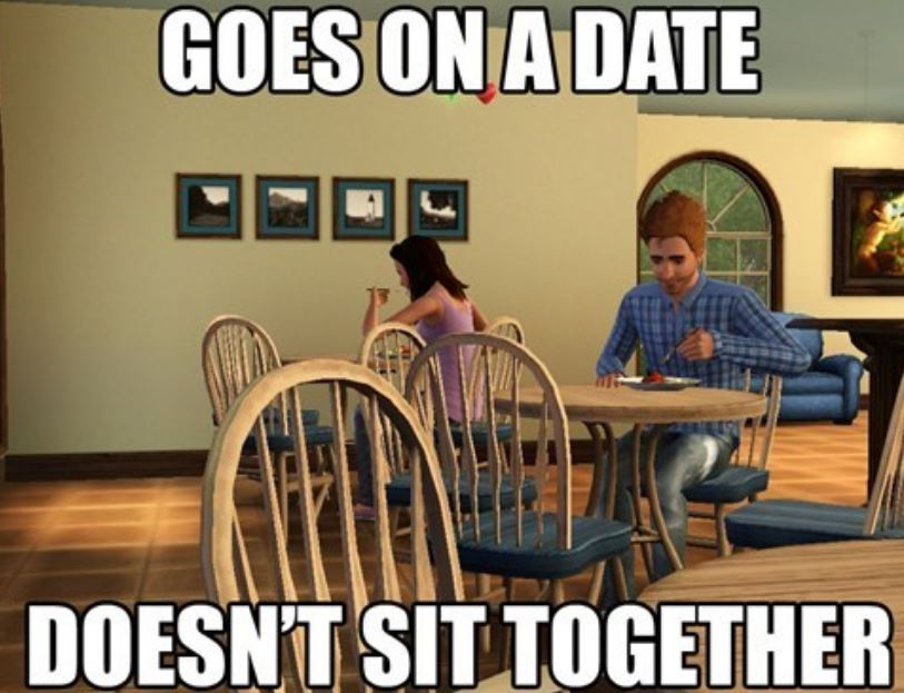 Sims on a date.