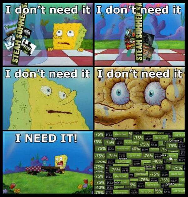 Steam Spongebob meme.