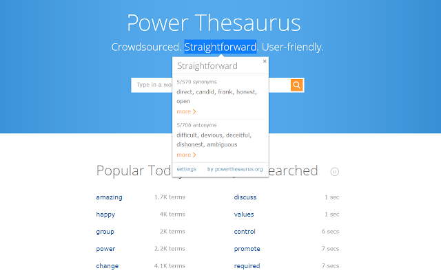 Power Thesaurus is a very good thesaurus app for Chrome.