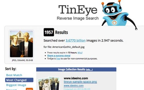 TinEye reverse image search engine Chrome OS.