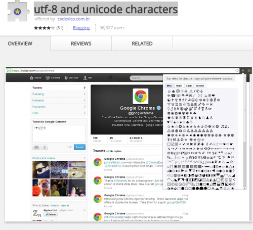 UTF-8 Unicode Chrome extension.