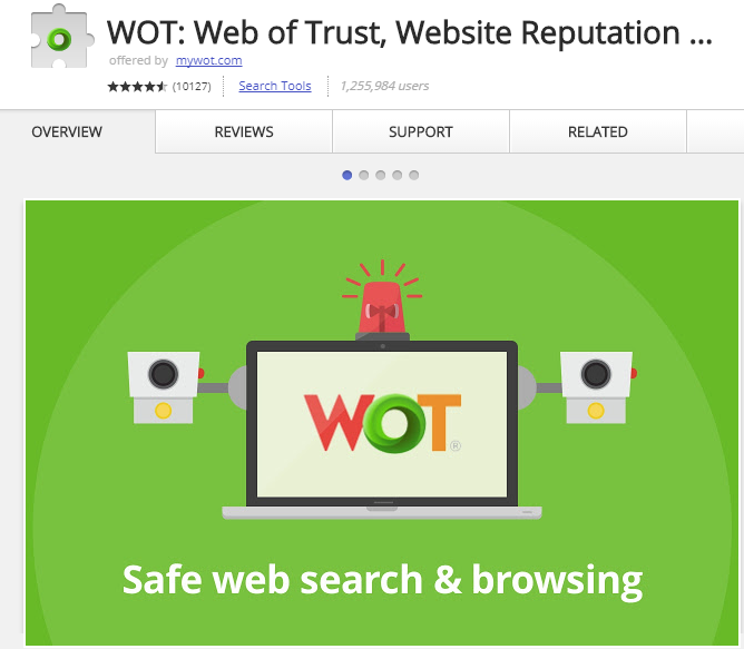 WOT is a website safety checker for Chrome.