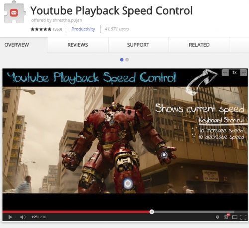 Control YouTube video speed with a hotkey or click with this app.